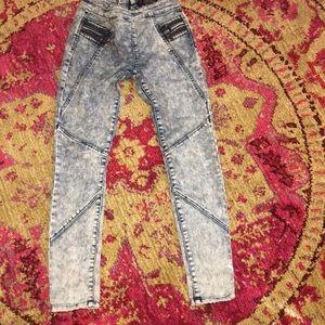 Bebe acid wash high waisted skinny fit jeans